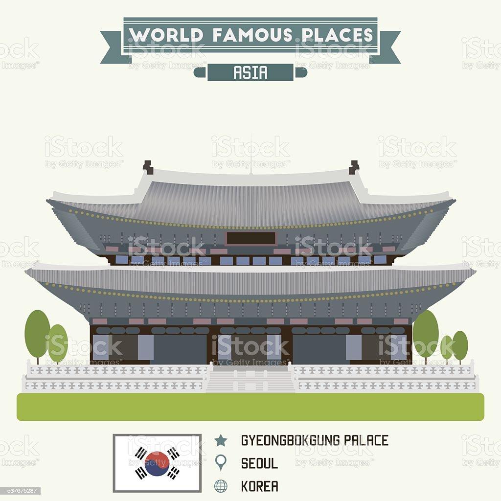 Gyeongbokgung palace. Seoul, Korea vector art illustration