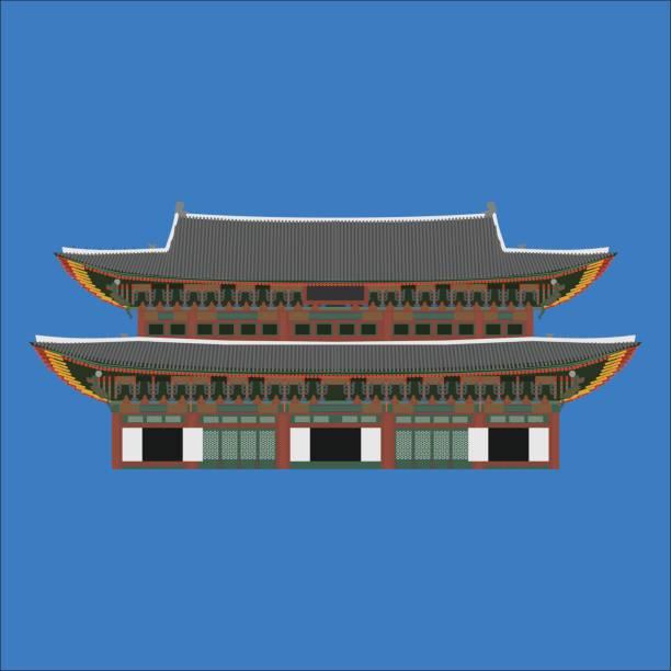 ilustrações, clipart, desenhos animados e ícones de elementos de plana dos desenhos animados do design de país de coreia do sul gyeongbokgung. marco histórico de viagens, lugar de turismo de seoul. mundo férias viagens turismo ásia coleção de construção. arquitetura asiática isolada - bandeira da coreia