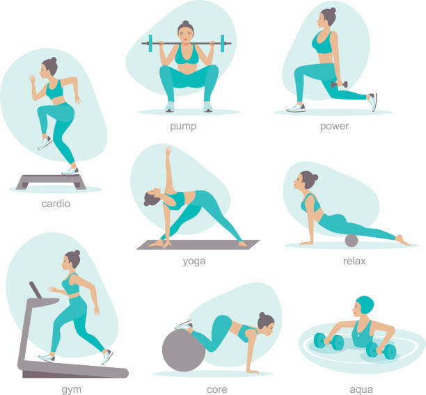 Gym activities set woman doing workout vector art illustration