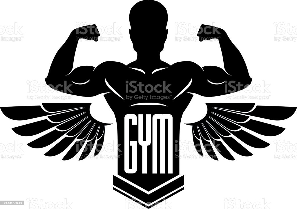 Gym and fitness icon template, retro stylized vector emblem or badge with wings. With bodybuilder silhouette. vector art illustration