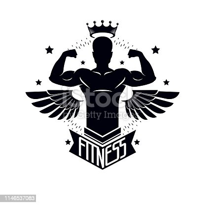 Gym and fitness template, retro stylized vector emblem or badge with wings. With bodybuilder silhouette.