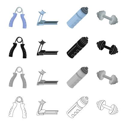 체육관 및 교육 만화 블랙 단색 아이콘 집합된 컬렉션 디자인에 대 한 개요 체육관 및 장비 벡터 기호 재고 웹 그림입니다 개발에 대한 스톡 벡터 아트 및 기타 이미지