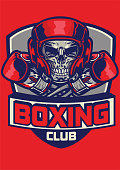 gym badge of boxing skull