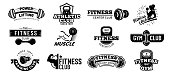 Gym badges. Bodybuilding stencil label, fitness monochrome silhouette badge and athlete muscles. Bodybuilding iron stamp, hipster athletic signs. Isolated vector illustration symbols set