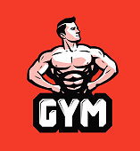 Gym, bodybuilding icon or label. Strong man with big muscles. Vector illustration