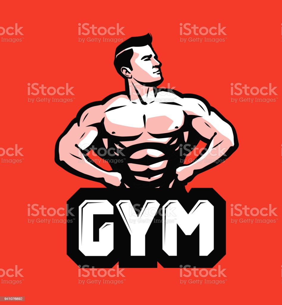 Gym, bodybuilding icon or label. Strong man with big muscles. Vector illustration vector art illustration