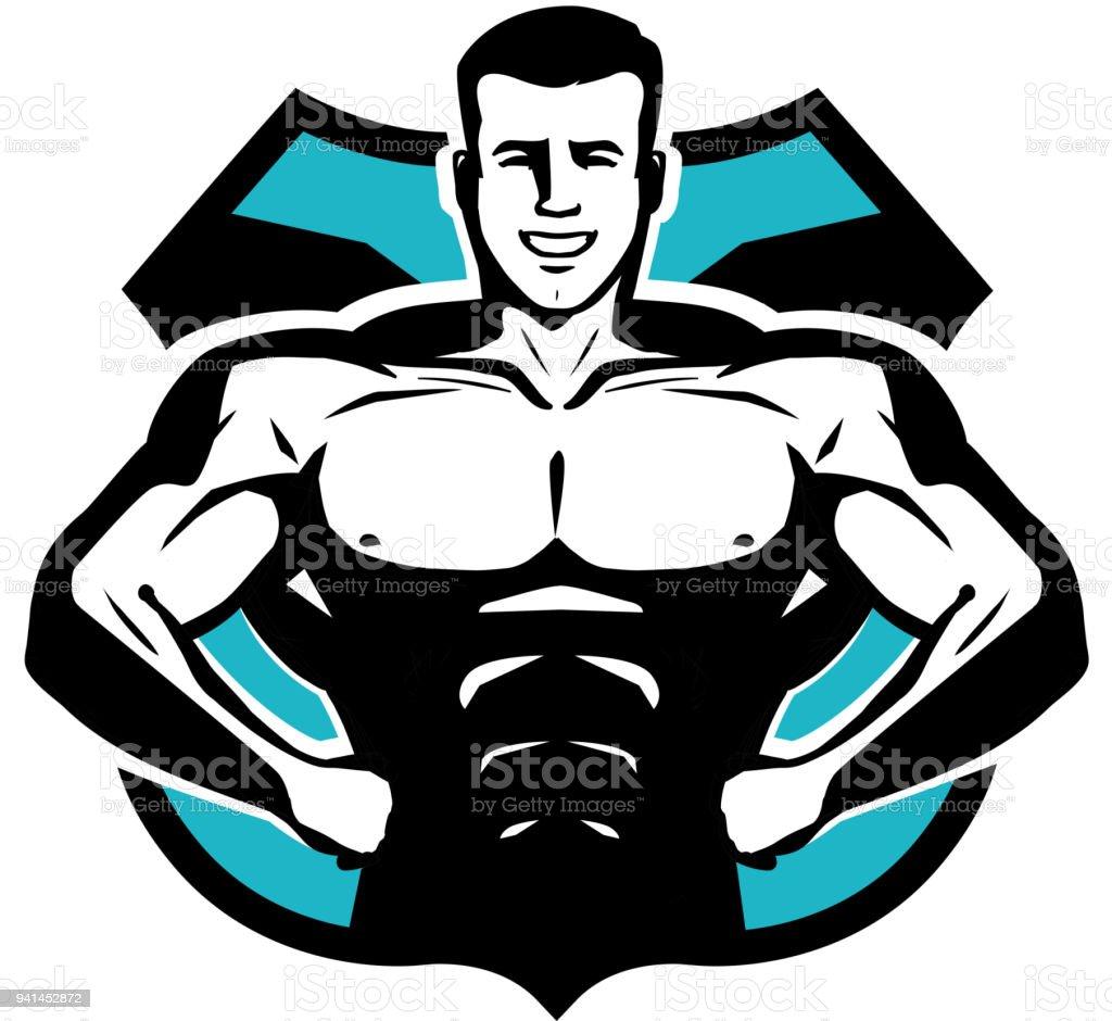 Gym Bodybuilding Sport Icon Or Label Happy Bodybuilder With Muscular