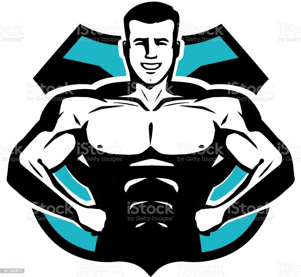Gym, bodybuilding, sport icon or label. Happy bodybuilder with muscular body. Vector illustration vector art illustration