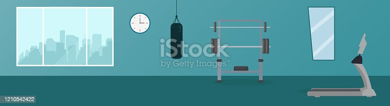 istock Gym center, Modern health club with exercising equipment 1210542422