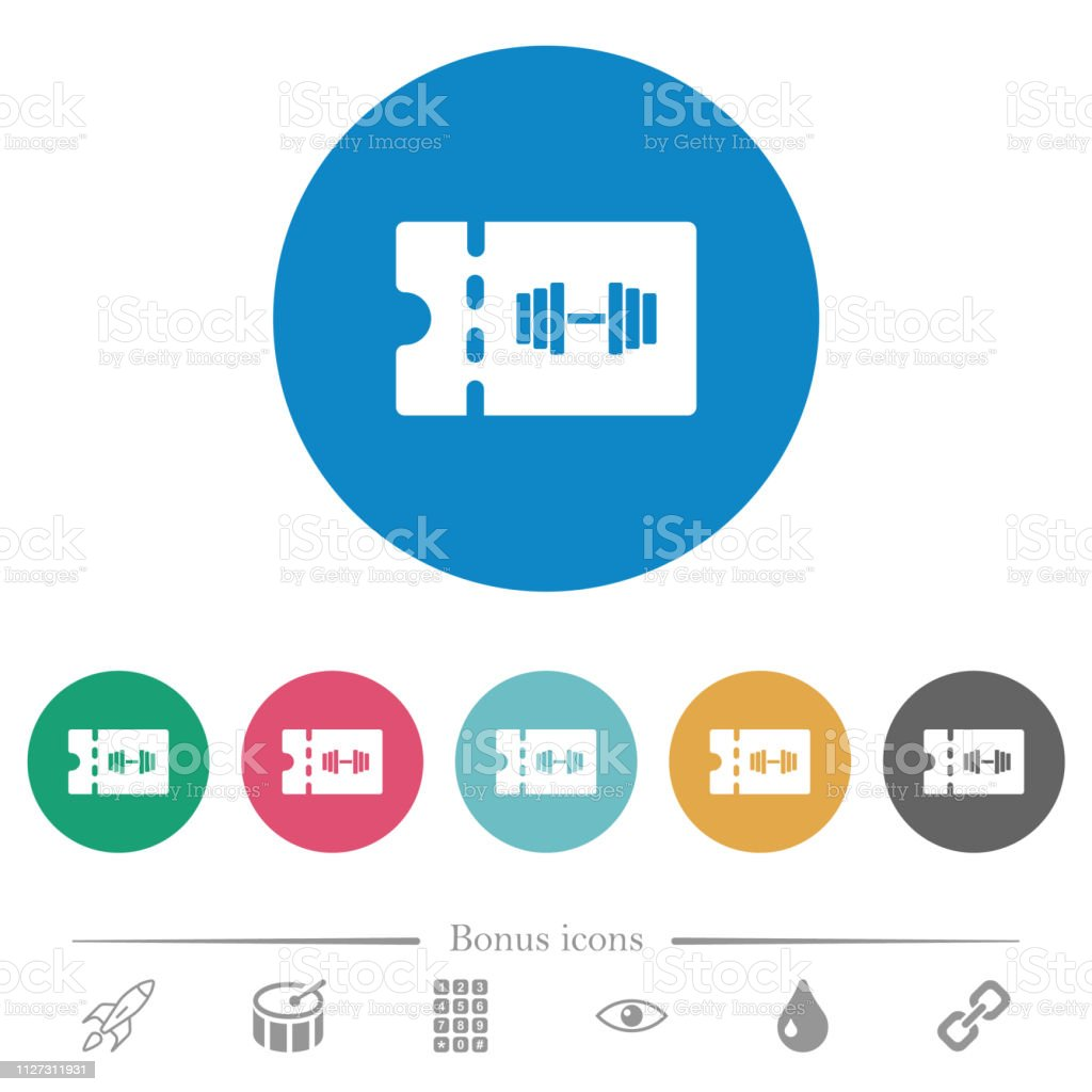 Gym discount coupon flat round icons vector art illustration
