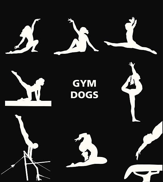 ジムの犬 - 体操競技点のイラスト素材/クリップアート素材/マンガ素材/アイコン素材