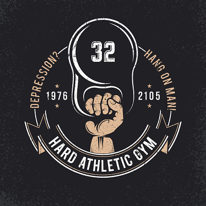 Athletic logo - a hand with weight. Emblem for the gym. Grunge texture on a separate layer.