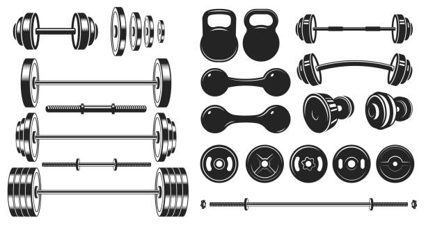 Gym equipment silhouette. Fitness sport, heavy weight barbell and vintage bodybuilding stencil vector illustration set Gym equipment silhouette. Fitness sport, heavy weight barbell and vintage bodybuilding stencil. Wellness equipment, fit exercise or yoga training iron lift sign. Isolated vector illustration icons set weights stock illustrations