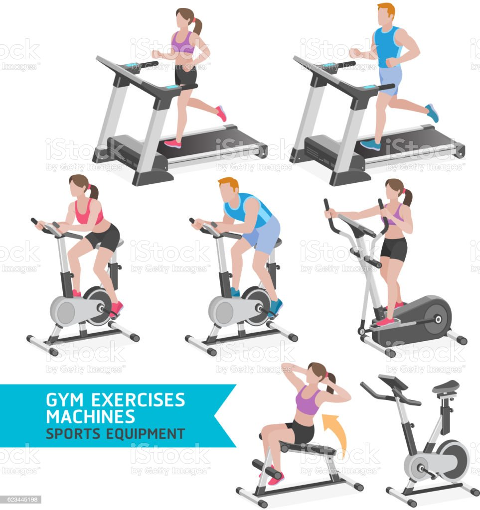 Gym exercises machines sports equipment. vector art illustration