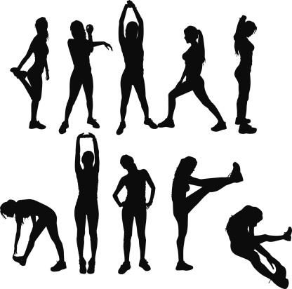 Gym Exercises silhouettes