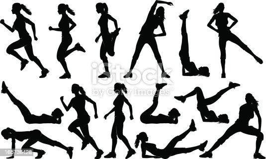 Detailed silhouettes set of woman exercising, running and walking.