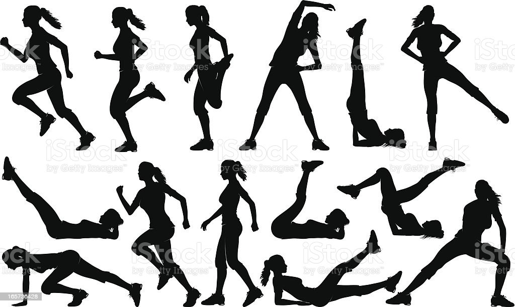 Gym Exercises Silhouettes (female) vector art illustration