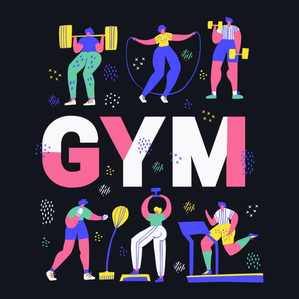 stockillustraties, clipart, cartoons en iconen met gym, fitnesscentrum hand getekende woord concept banner - gym