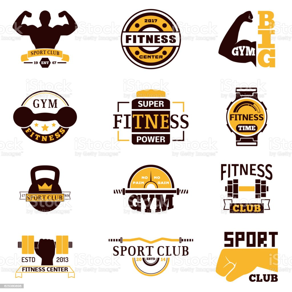 Gym Fitness Logo Vector Badge Stock Vector Art & More