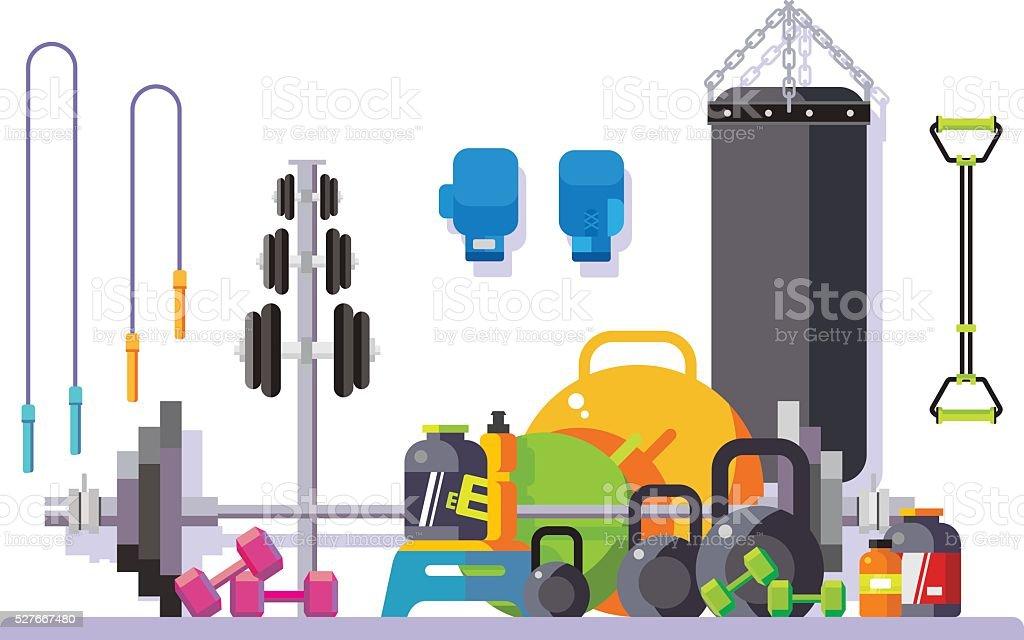 Gimnasio Estilo plano ilustración de gimnasio estilo plano y más vectores libres de derechos de actividad libre de derechos