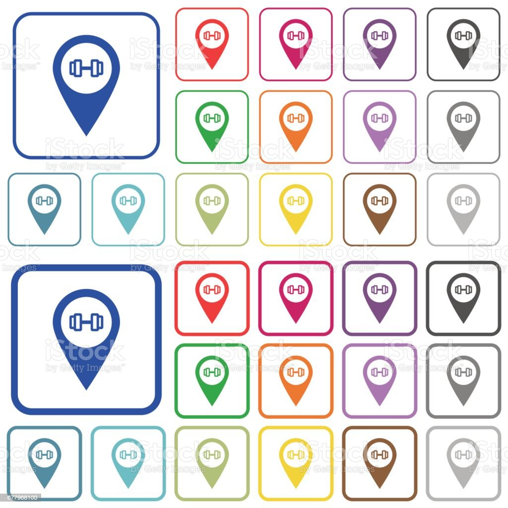 Gym GPS map location outlined flat color icons royalty-free gym gps map location outlined flat color icons stock vector art & more images of applying