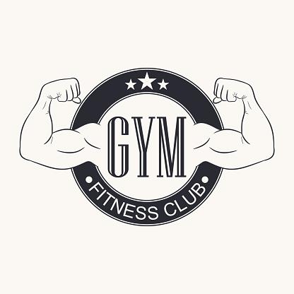 Gym. Gymnasium emblem. Fitness club logo. Typography graphic for t-shirt, design of sportswear apparel. Bodybuilding label. Vector