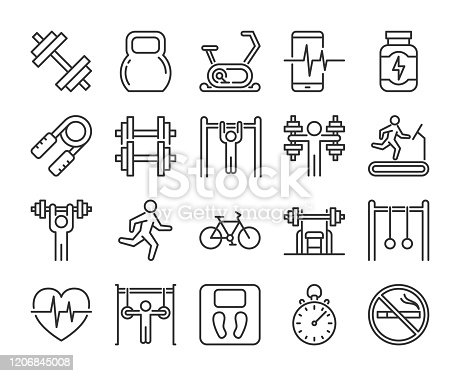 Gym icons. Fitness and Gym line icon set. Vector illustration. Editable stroke
