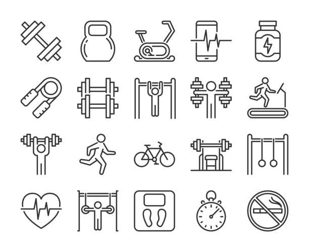 ilustrações de stock, clip art, desenhos animados e ícones de gym icons. fitness and gym line icon set. vector illustration. editable stroke. - fitness