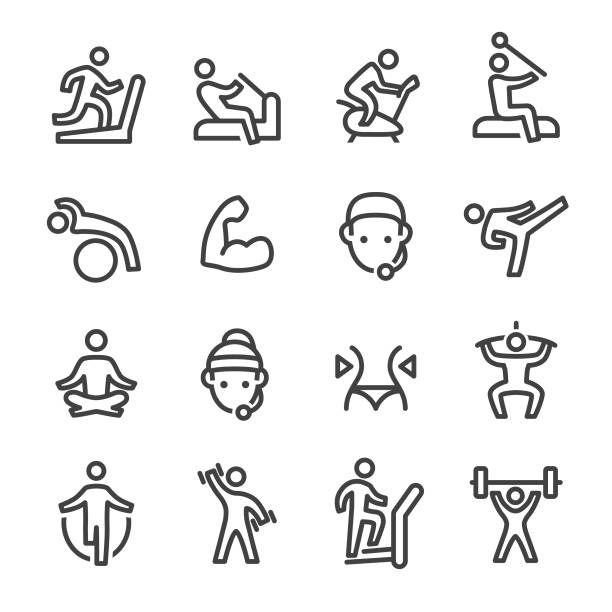 Gym Icons - Line Series Gym, Exercising, Exercise Equipment, exercise machine stock illustrations