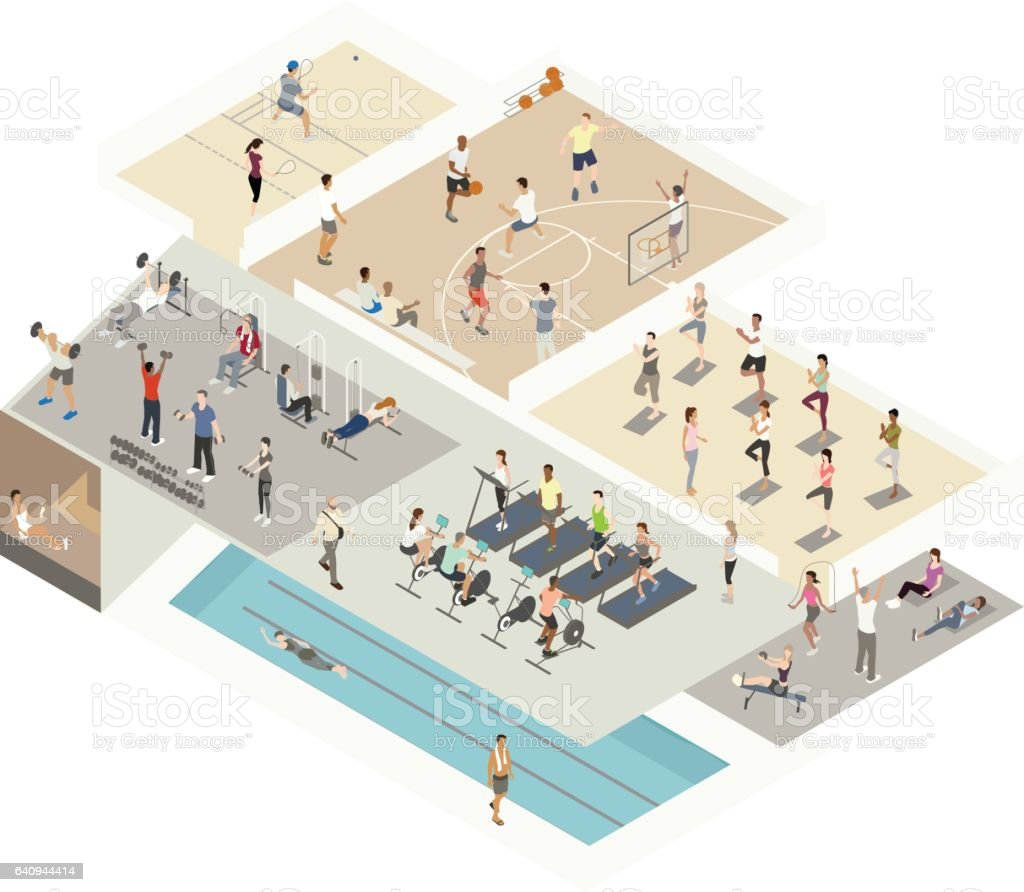 Gym isometric cutaway illustration