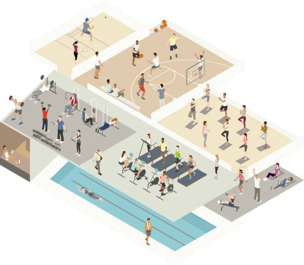 Gym Illustration Isometric Cutaway vector art illustration