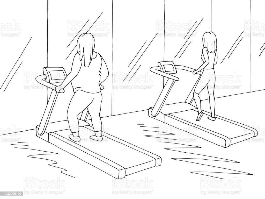 Spor Salonu Ic Grafik Siyah Beyaz Eskiz Illustrasyon Vektor Sisman