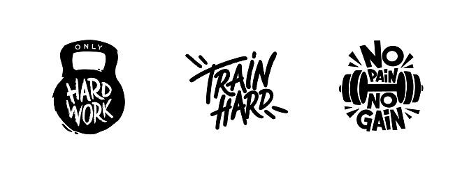 Gym motivation t-shirt print, logo, emblem. Lettering. Hand drawn vector illustration. element for flyers, banner and posters.