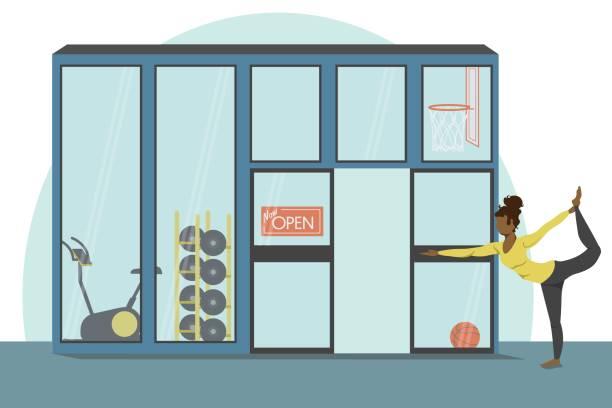 ilustrações, clipart, desenhos animados e ícones de dono de academia pratica yoga ao ar livre - entrepreneurship