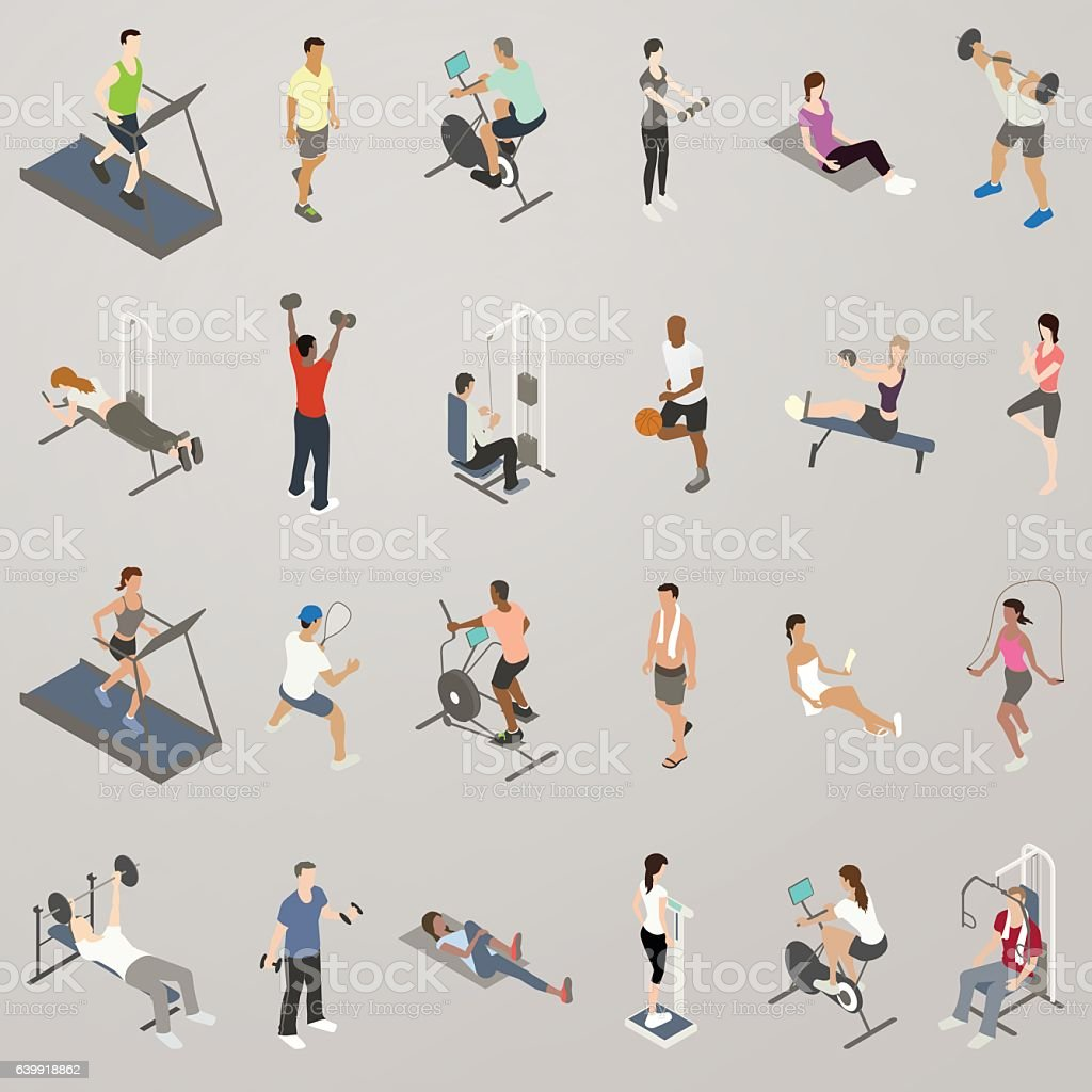 Gym People Working Out Icon Set royalty-free gym people working out icon set stock illustration - download image now