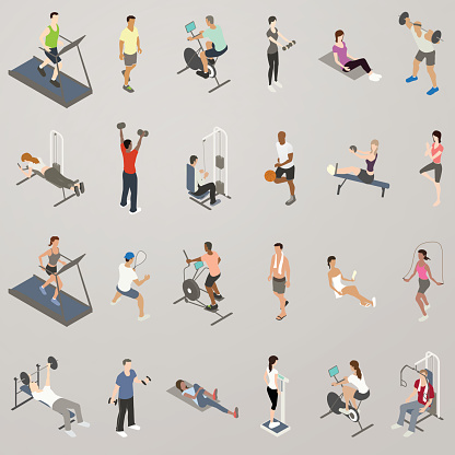 Gym People Working Out Icon Set