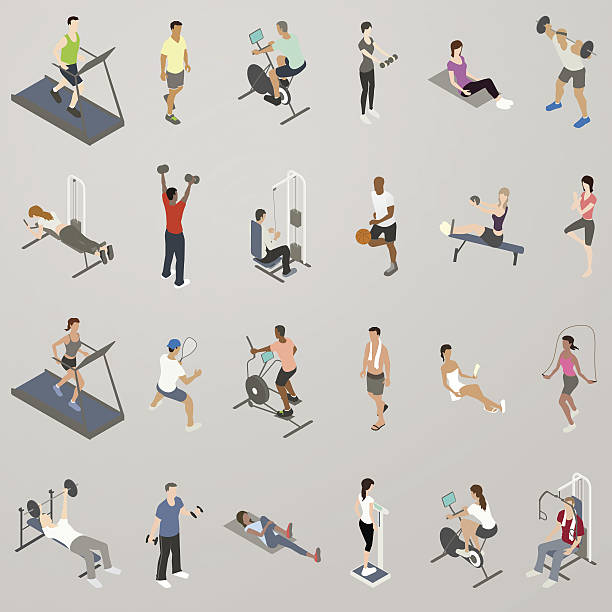 Gym People Working Out Icon Set vector art illustration