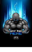 Bodybuilding poster with space for sport club logo. Fire muscular man. EPS 10