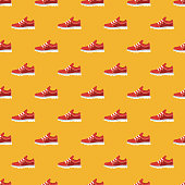 A seamless footwear pattern created from a single flat design icon, which can be tiled on all sides. File is built in the CMYK color space for optimal printing and can easily be converted to RGB. No gradients or transparencies used, the shapes have been placed into a clipping mask.