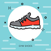 Gym Shoe Open Outline School Supplies Icon