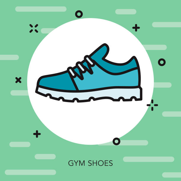 Gym Shoe Weight Loss Thin Line Icon vector art illustration