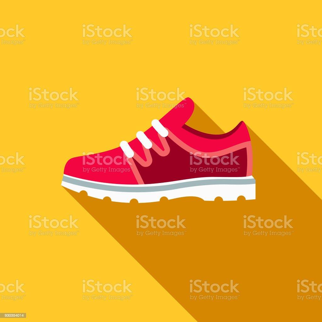 Escola de Design do ginásio sapatos Flat fornece ícone com sombra do lado - ilustração de arte em vetor
