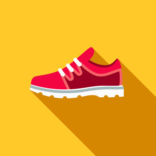 Gym Shoes Flat Design School Supplies Icon with Side Shadow A colored flat design back to school supplies icon with a long side shadow. Color swatches are global so it's easy to edit and change the colors. shoe stock illustrations