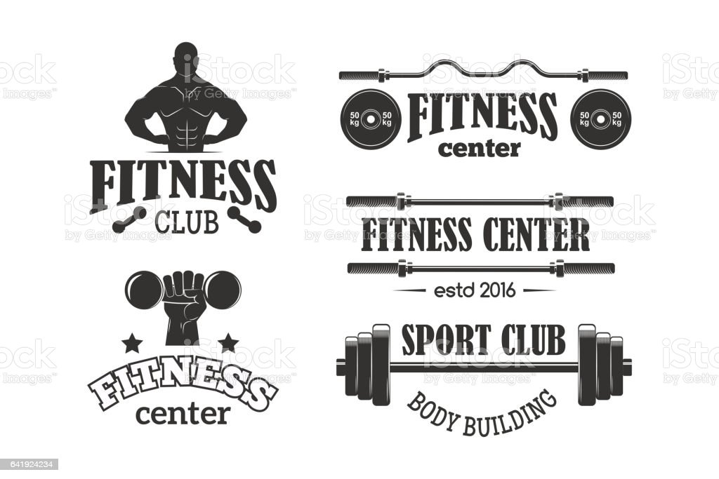 Gym sport club fitness emblem vector illustration vector art illustration