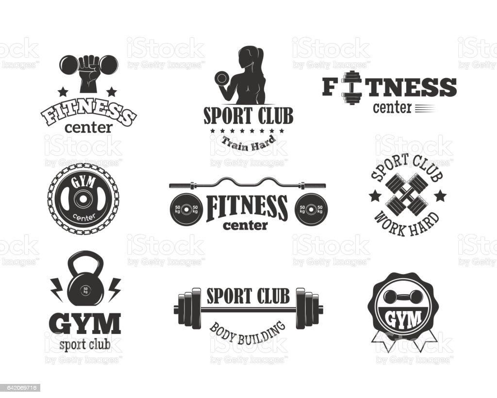 Gym sport club fitness emblem vector illustration