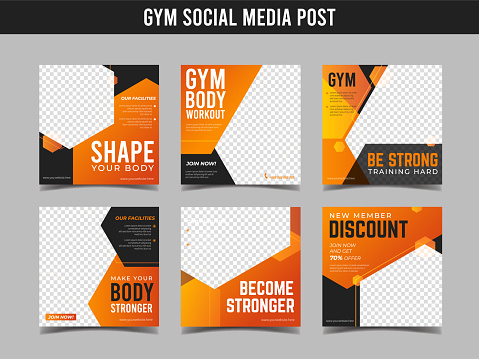 Gym square banner template. Promotional banner for social media post, web banner and flyer Vol.4