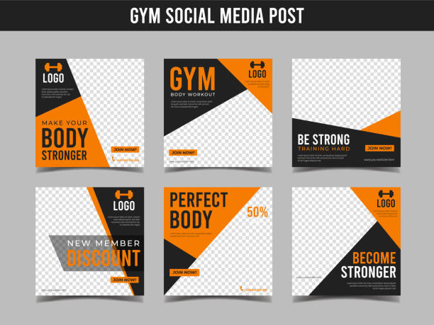 gym square banner template. promotional banner for social media post, web banner and flyer vol.1 - class stock illustrations