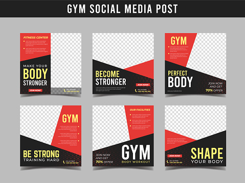 Gym square banner template. Promotional banner for social media post, web banner and flyer Vol.6