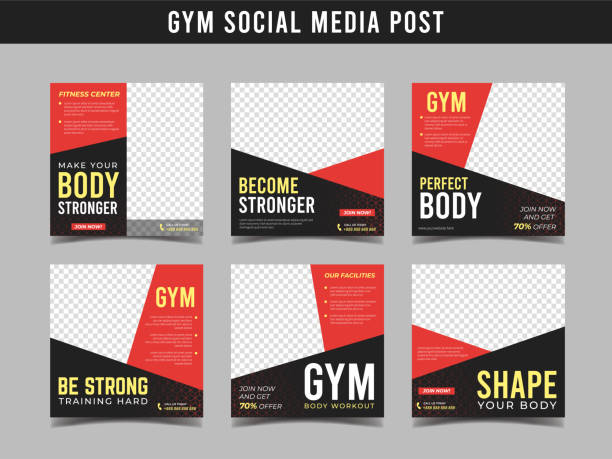gym square banner template. promotional banner for social media post, web banner and flyer vol.6 - class stock illustrations