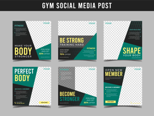 gym square banner template. promotional banner for social media post, web banner and flyer vol.10 - class stock illustrations